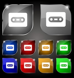Cassette icon sign Set of ten colorful buttons vector image vector image