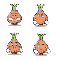 collection onion character cartoon set vector image vector image