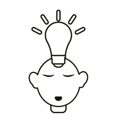 Head thinking bulb idea innovation outline vector