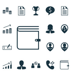 Set of 16 management icons includes phone vector
