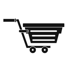 Shopping basket on wheels icon simple style vector