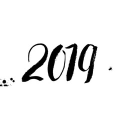 2019 hand written lettering design of happy new vector image