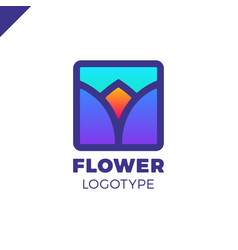 abstract flower tulip logo in square icon vector image
