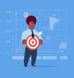 African american business man hold arrow vector