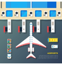 Airport Apron Plane At Jet Bridge vector image