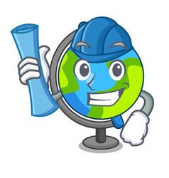 Architect globe character cartoon style vector