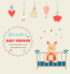bashower invitation card with little rabbit vector image
