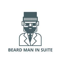 beard man in suite line icon beard man in vector image