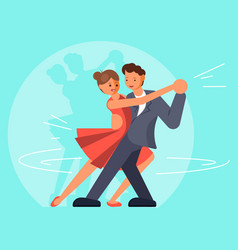 Beautiful couple dancing tango flat vector