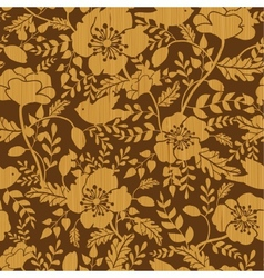 Birds among flowers wooden seamless pattern vector image