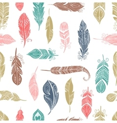 Bohemian style feathers seamless pattern vector image