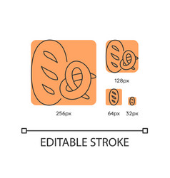 bread and bakery orange linear icons set vector image