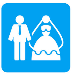 Bride and groom rounded square icon vector