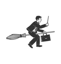 businessman on broom sketch vector image
