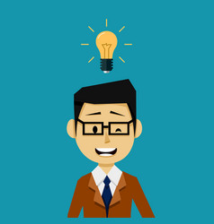 businessman with an idea light bulb vector image