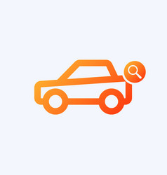 Car icon with research sign vector