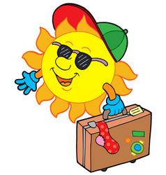 Cartoon sun traveller vector