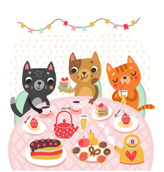 cat holidays tea time vector image