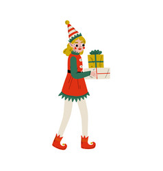 christmas elf character carrying gift boxes cute vector image