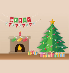 christmas tree gifts and decorated fireplace for vector image