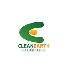 Clean earth ecology portal letter e icon vector