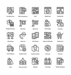 Collection line icons shopping vector