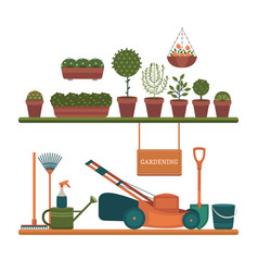 Collection of tools for gardening vector
