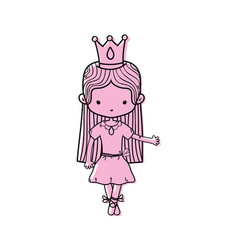 color girl dancing with crown and straight hair vector image