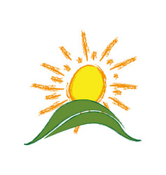 color paint sun with mountain icon vector image