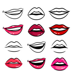 colorful and line female lips vector image