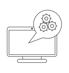 Computer screen with gears in bubble black and vector