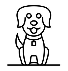 cute dog icon outline style vector image