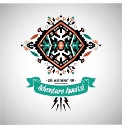 Decorative bright element on native ethnic style vector