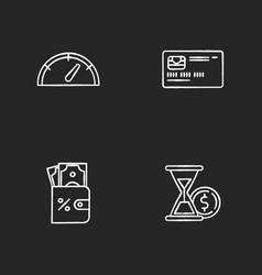 deposit money chalk white icons set on black vector image