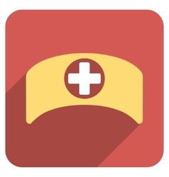 Doctor cap flat rounded square icon with long vector