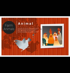 Farm animal background with chicken vector