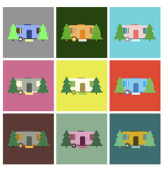 Flat icons set trailer in forest vector