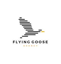 flying goose logo stripes vector image
