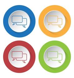 Four round color icons - outline speech bubbles vector