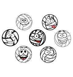 Funny cartoon white volleyball balls characters vector image