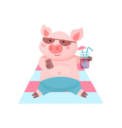 Funny pig drinking a cocktail while lying on the vector