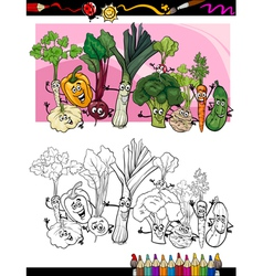 Funny vegetables cartoon for coloring book vector