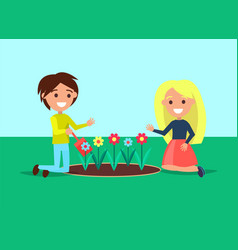 girl and boy sitting near flower bed kids vector image