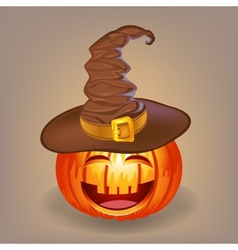 Good pumpkin in a witch hat for Halloween vector image