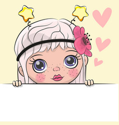 Greeting card cute cartoon girl vector