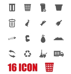 Grey garbage icon set vector