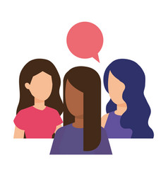 group of girls with speech bubbles vector image