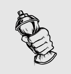 Hand squeeze spray paint bottle vector