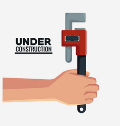 hand with adjustable wrench vector image