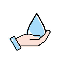 hand with natural water drop to environment care vector image